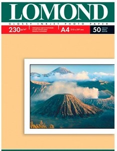 Фотобумага  А-4 LOMOND (230g.) Glossy 50 листов