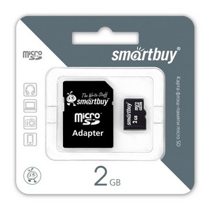 Micro SD HC card  2Gb Smartbuy (переходник SD)