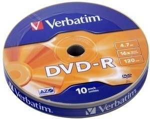 DVD-R  S- 10 Bulk VERBATIM 4.7Gb -16x  (Wagon Wheel)