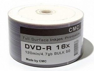 DVD-R Printable S- 50 Bulk CMC Magnetics 4.7Gb -16x (FULL Printable)